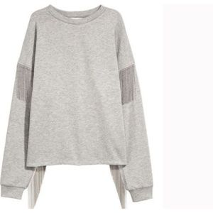 H&M Gray Sweatshirt with Ball Chains